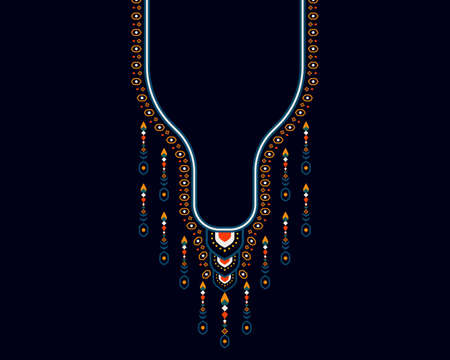 Geometric ethnic oriental pattern. Necklace embroidery design for textile, fashion woman, background, wallpaper, clothing and wrapping. Vector illustration.