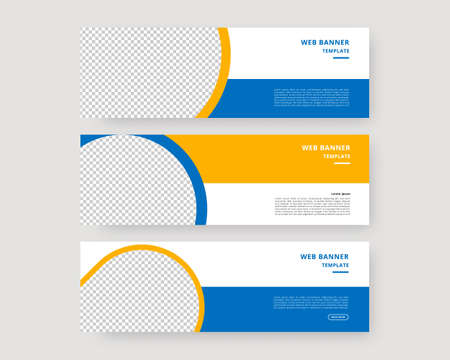 Web banner template set. Collection of horizontal banners design. Vector illustration.