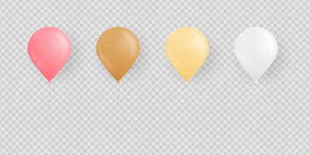Colorful balloon set. Realistic balloon set isolated on transparent background. Design elements for anniversary, birthday party, etc. Vector illustration.
