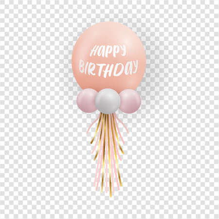 Realistic glossy pink balloon on transparent background. Party balloon decorations wedding, birthday, celebration and anniversary. Vector illustration.