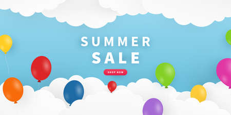 Summer background with sky, clouds, balloons. Summer sale banner design in paper cut style. Color background layout banner. Vector illustration. Illustration