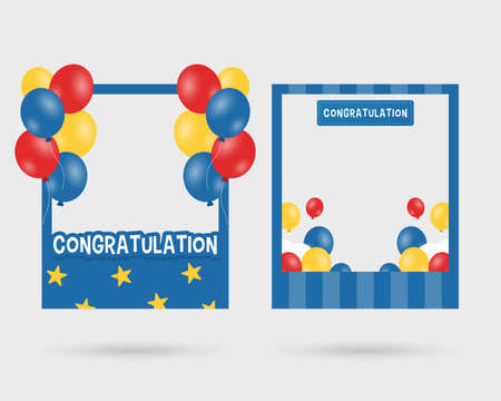 Set of graduation photo booth frame. Photo booth props template vector with balloons. Vector illustration.