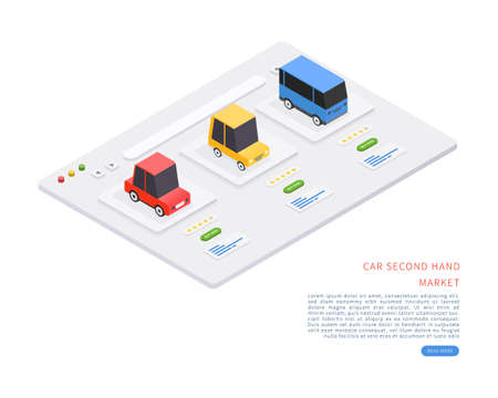 Car second hand marketplace. Car second hand market concept in isometric vector illustration. Vector illustration. Illustration