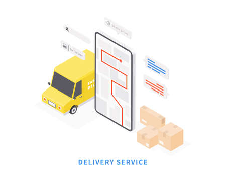 Delivery service on mobile application. Transportation delivery by van. Vector isometric with smartphone, van, map, parcels, map tracking. Vector illustration.
