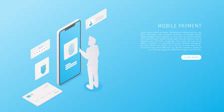 Mobile payment concept in flat isometric vector illustration. Online banking application with smartphone, credit card, person, scan fingerprint and Identification system. Vector illustration.