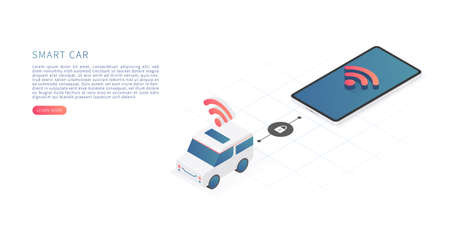 Smart car technology concept. Vector isometric illustration with car and smartphone. Illustration