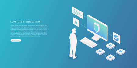 Computer data protection concept in flat isometric vector illustration. Data security with desktop computer, person, data, security system. Vector illustration. Illustration