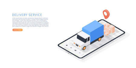 Delivery service on mobile application. Transportation delivery by truck. Vector isometric with smartphone, truck, map, parcels, map tracking. Vector illustration.