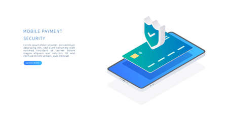 Mobile payment security concept in isometric vector illustration. Online payment protection system with credit card and smartphone. Vector illustration.