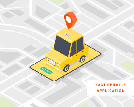 Smart taxi. Online taxi service concept. Flat isometric vector with taxi car, map and smartphone. Vector illustration.