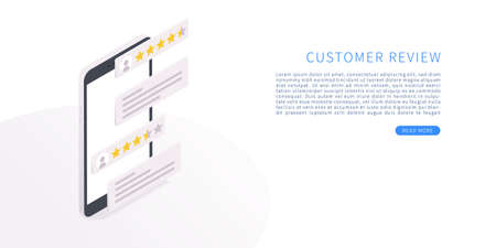 Customer review concept in isometric vector illustration. Rating on customer service and review. Illustration