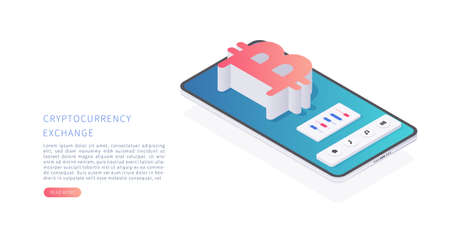 Cryptocurrency. Smartphone with cryptocurrency trading app on the screen. Bitcoin investment in isometric vector illustration. Illustration