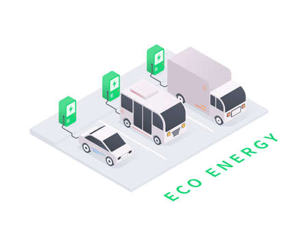 Eco energy and eco transport concept. Electric vehicle charging station with car, bus, truck. Green energy in isometric vector illustration. Illustration