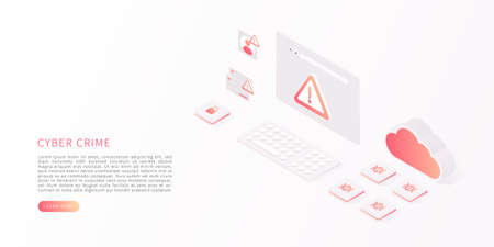 Cyber crime concept. Cyber attack by hacker, virus, malware. Isometric vector of computer virus, alert notification, hacking, malware. Vector illustration.