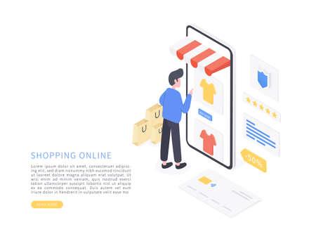 Online shopping. Shopping Online on Website or Mobile Application. Mobile online shopping in isometric vector illustration. Illustration