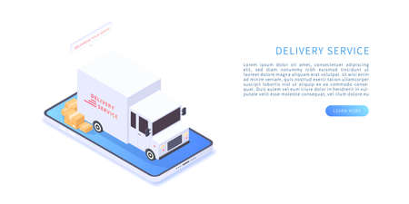 Delivery service on mobile application concept. Transportation delivery in isometric vector illustration. Delivery service with truck and boxes on smartphone. Vector illustration.