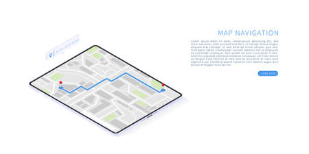 Mobile navigation application in isometric vector illustration. Flat isometric vector with tablet, pin, map. Map on mobile application. Vector illustration.