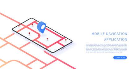 Mobile navigation application in isometric vector illustration. Map on mobile application. Vector illustration.