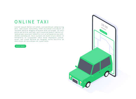 Taxi online service in isometric vector illustration. Taxi online and car sharing concept. Green taxi car with smartphone and taxi application. Vector illustration.