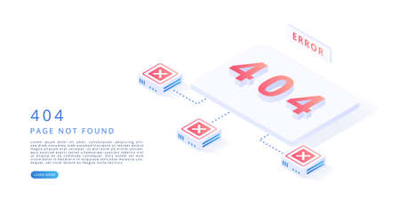 404 error page in isometric vector illustration. 404 error, website maintenance, page not found concept.