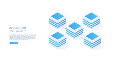Blockchain. Blockchain technology concept in isometric vector. Flat vector illustration.