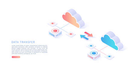 Data transfer concept in isometric vector illustration. Data transfer, file receiver and backup on cloud storage. Vector illustration. Illustration