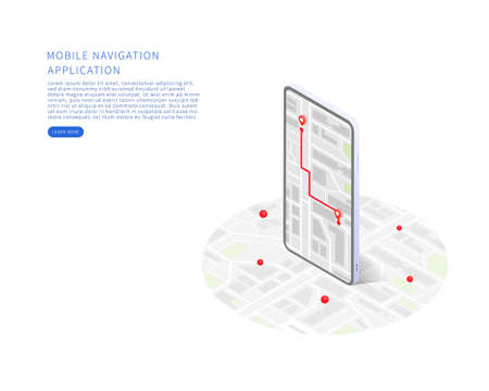 Mobile navigation application in isometric vector illustration. City isometric plan with buildings, road, gps tracking on smartphone. Map on mobile application. Vector illustration.