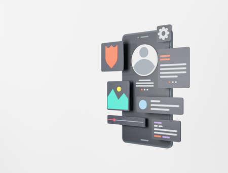 Mobile app development and mobile web design concept. User interface optimization. 3D rendering. Standard-Bild