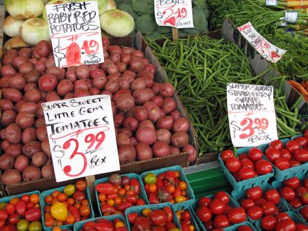 pike place market sign:    Vegetables for Sale