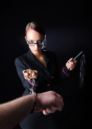 dominance: Abusive Female Boss Stock Photo