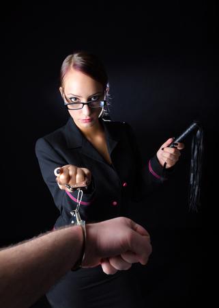 handcuffed: Abusive Female Boss Stock Photo