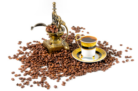 Turkish Coffee With Grinder and Beans