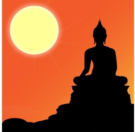 Buddha sit statue sunshine Stock Vector - 20991352