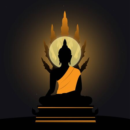 Silhouette of a Buddha  art style   Illustration