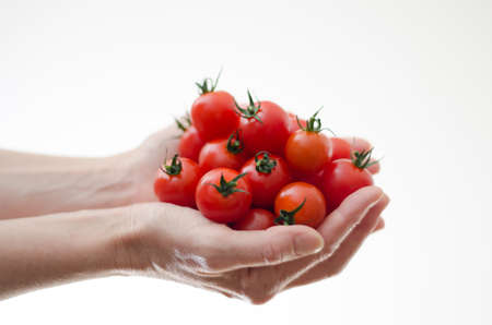 Some cherry tomatoes in a womans hands from the side with white background.