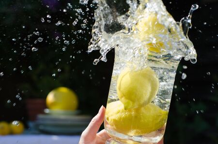 Lemons splashing into clear water in a glass container in sunlight