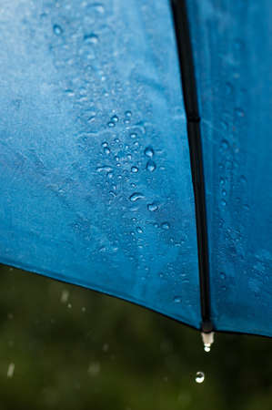 Rain runs and drips from the edges of the blue umbrella illuminated by the sun in a sudden downpour  Stock Photo