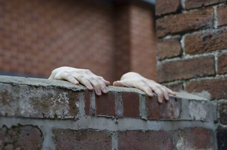 A pair of youths hands gripping on to the top of an urban red brick wall, with another wall of a building in the background.