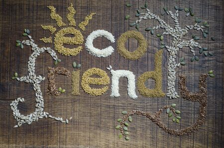 The phrase Eco Friendly, decoratively written and  in sesame seeds, sunflower seeds, flax seeds, alfafa seeds, fenugreek seeds and pumpkin seeds, on a dark wooden surface.