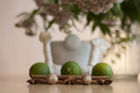 valerian: A geometric arrangement of Ayurvedic ingredients, including limes and and spices with a mortar and pestle and Valerian plant in the back ground