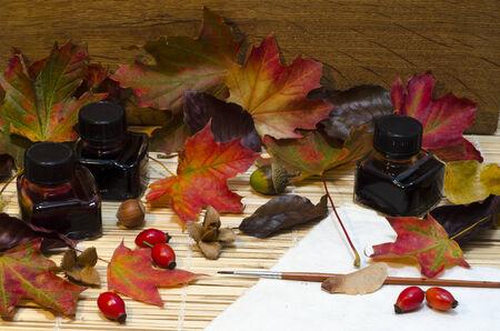 samhain: Disposici�n de oto�o hojas, nueces y bayas, botellas de tinta de color, alrededor de papel y paintbrus con el fondo de madera de roble y el espacio para texto. Foto de archivo