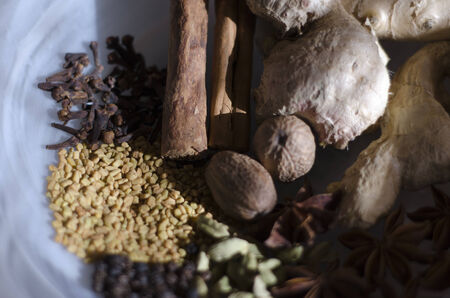 vedic: Close-up of Ayurvedic spices in a white bowl.