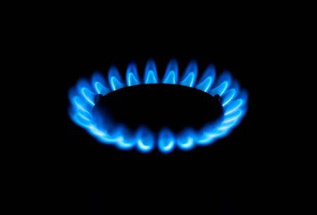 Gas burner blue close up Stock Photo