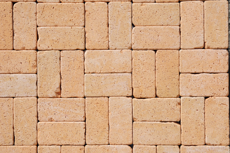 clinker tile: Textured Background. Beautiful German Ceramic Clinker Pavers for Patio. Floor pavers in a path, detail of a pavement to walk, textured background Stock Photo
