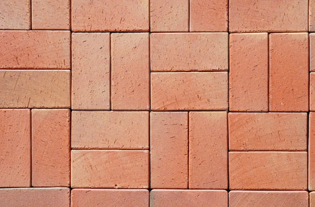 brick background: Red Modern Ceramic Clinker Pavers. Floor pavers in a path, detail of a pavement to walk, textured background Stock Photo