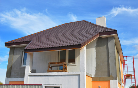 Roof Vents: Construction Or Repair Of The Rural House With Balcony, Eaves,  Windows