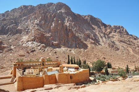 Beautiful Mountain cloister landscape in the oasis desert valley. Saint Catherine's Monastery in Sinai Peninsula, Egypt Stock fotó