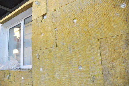Windows Area External Wall Insulation with Fiberglass. Stock Photo
