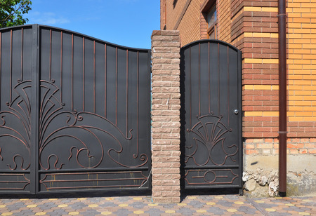 Genial Close Up On Installation Of Metal Fence With Door And Gate For Car. Stock  Photo