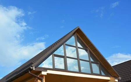 Building house attic conservatory terrace on the home roof. Conservatory or greenhouse roofing.